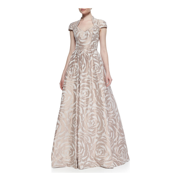 "THEIA Cap-sleeve floral jacquard ball gown - Theia floral jacquard ball gown. Approx. 45""L from waist to..."