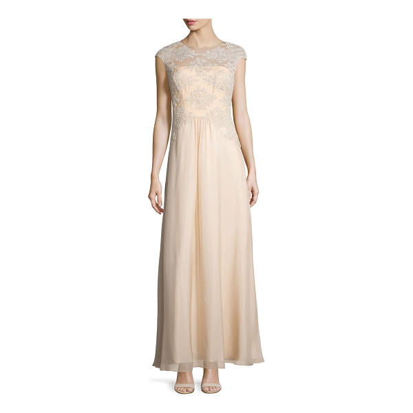 THEIA Embroidered Tulle Silk Gown - Kay Unger embroidered tulle gown with sheer yoke for...