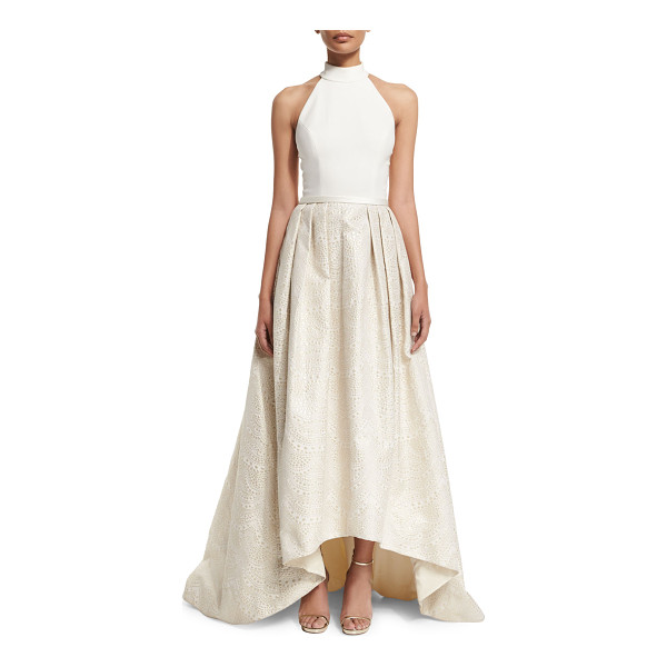 THEIA Halter High-Low Gown - Theia gown with crepe bodice and jacquard skirt. Approx....