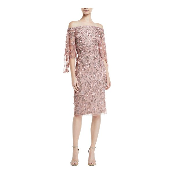 THEIA Off-the-Shoulder 3-D Floral Embroidery Sheath Dress - Theia dress in allover embroidered 3-D floral appliques....