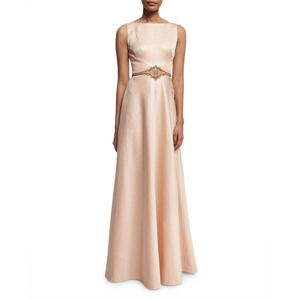 THEIA Sleeveless Shimmery Ball Gown - Theia shimmery ball gown. Bateau neckline; V'd back....
