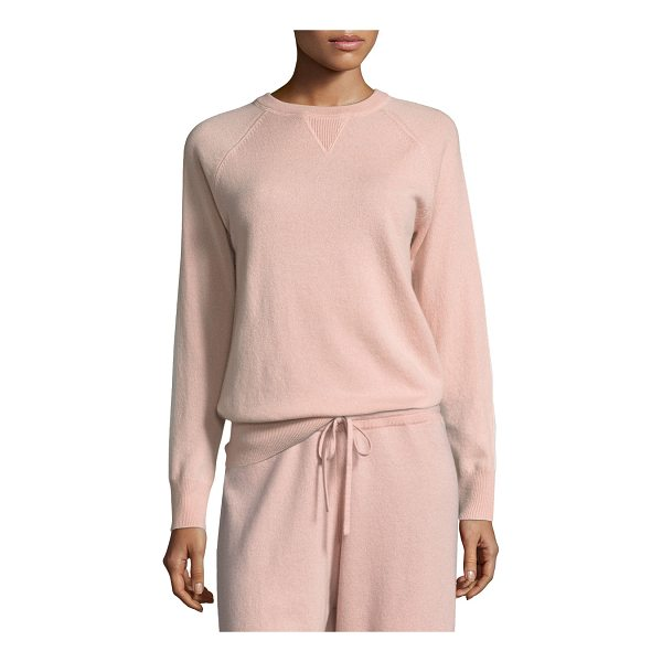 THEORY Athletic Stripe Crewneck Cashmere Sweater - EXCLUSIVELY AT NEIMAN MARCUS Theory cashmere sweater with...