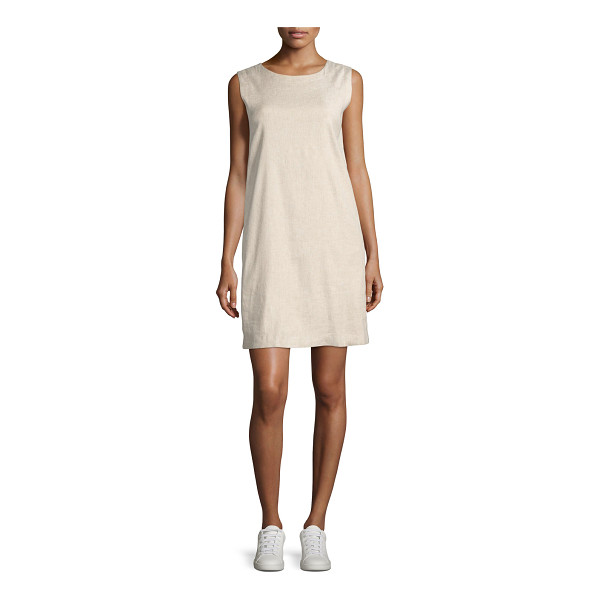 "THEORY Didianne Tierra Wash Sleeveless Shift Dress - Theory ""Didianne"" dress in Tierra wash linen blend. Approx...."