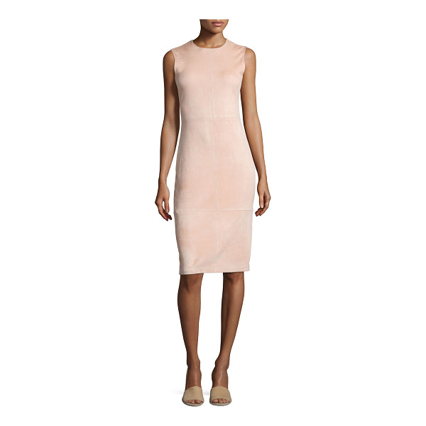 """THEORY Eano L Stretch Suede Sheath Dress - Theory """"Eano L"""" dress in lamb suede. Approx. 41""""L down..."""