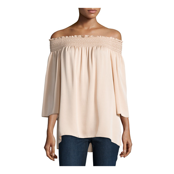 """THEORY Elistaire Off-the-Shoulder Modern Georgette Top - Theory """"Elistaire"""" top in Modern georgette. Smocked..."""