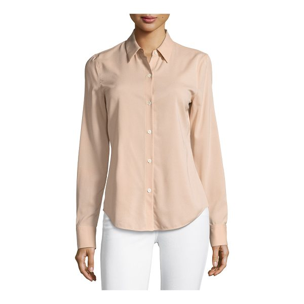 "THEORY Perfect Fitted Button-Front Top - Theory ""Perfect Fitted"" top in stretch crepe georgette...."