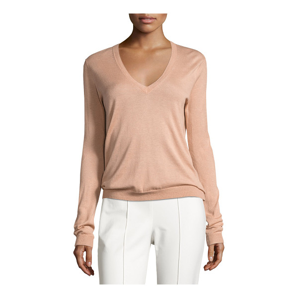 """THEORY Yulia Silk-Blend V-Neck Sweater - Theory """"Yulia"""" sweater with finely ribbed neckline, cuffs,..."""