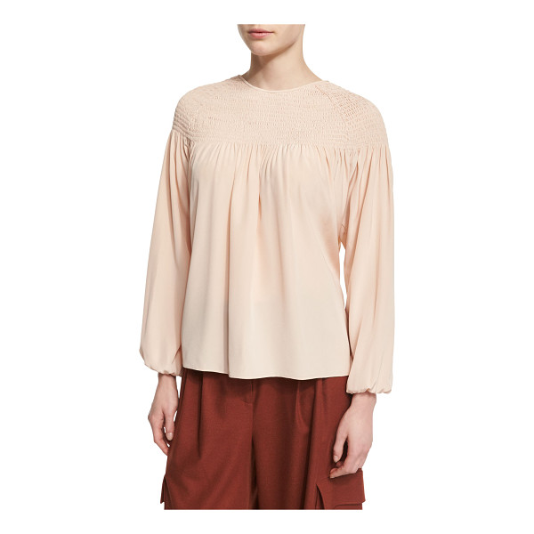 """TIBI Long-Sleeve Smocked Silk Top - Tibi blouse in heavy silk. Approx. length: 25""""L from..."""