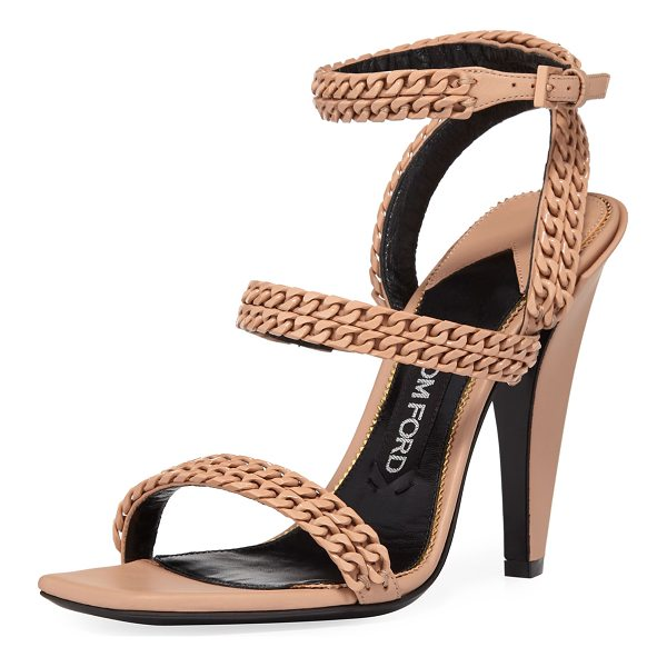 """TOM FORD Chain Strappy 105mm Sandal - TOM FORD calf leather sandal with curb-chain trim. 4.1""""..."""