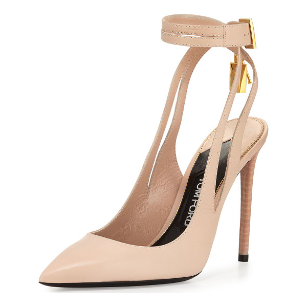 """TOM FORD Leather Ankle-Lock 105mm Pump - TOM FORD shiny calf leather pump. 4.3"""" stacked heel...."""