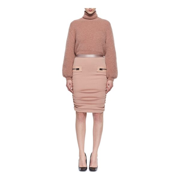 TOM FORD Leather-Trim Shirred Pencil Skirt - TOM FORD shirred pencil skirt with leather trim....