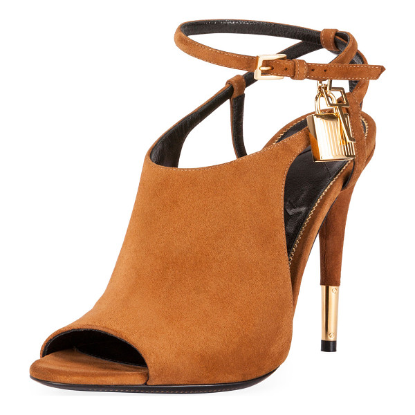 "TOM FORD Lock Suede Open-Toe Ankle-Wrap Bootie - TOM FORD suede bootie. 4.1"" covered heel with golden tip...."