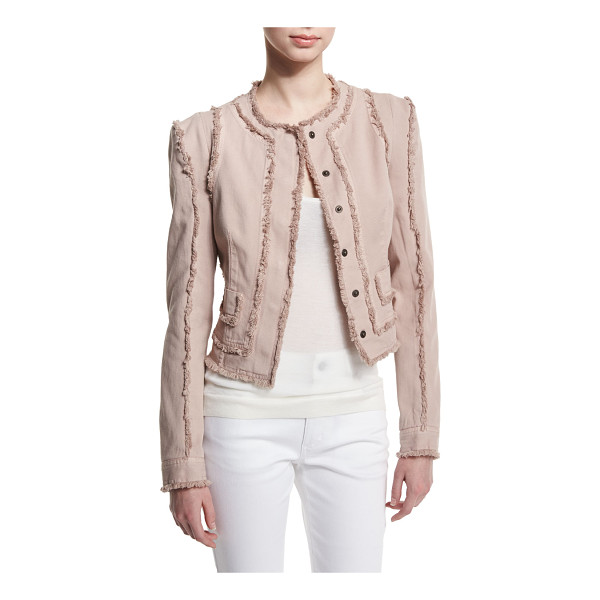 TOM FORD Long-Sleeve Jacket W/Fringe-Seams - Tom Ford stretch-cotton jacket with fringe seams. Jewel...