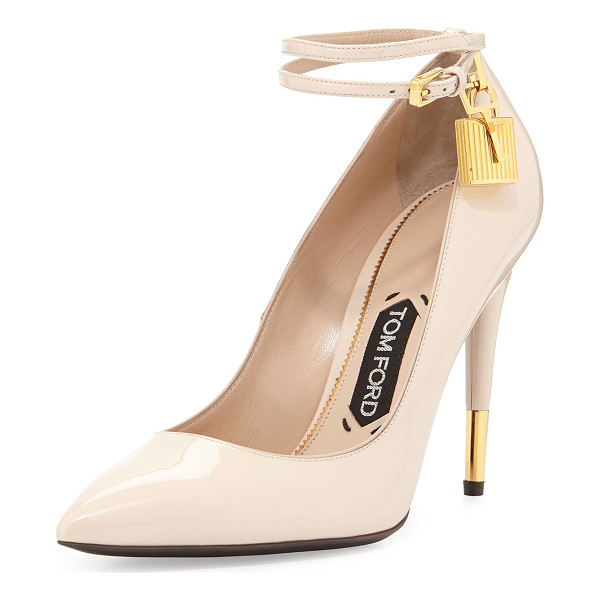 TOM FORD Patent 105mm Ankle-Lock Pump - TOM FORD patent leather pump with signature golden...