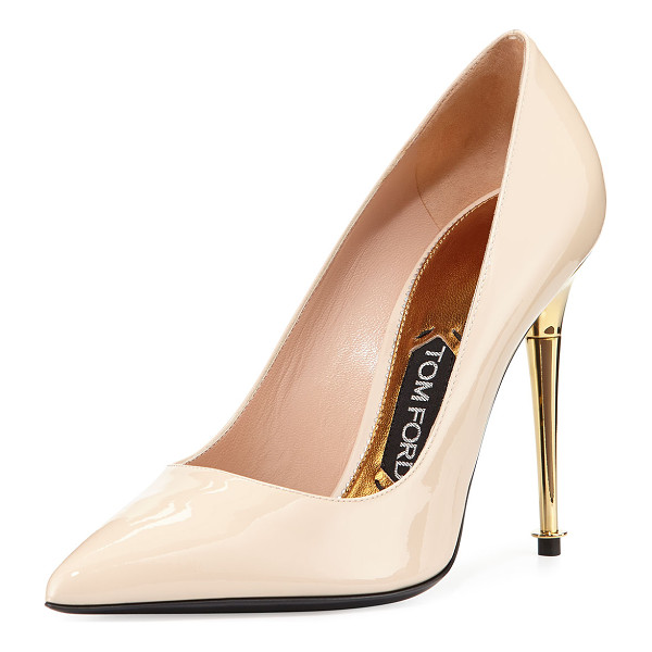 "TOM FORD Patent leather pin-heel pump - Tom Ford patent leather pump. 4"" metallic golden pin heel...."