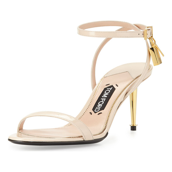 TOM FORD Patent Low-Heel Ankle Lock Sandal - Patent leather sandal with signature Tom Ford yellow golden