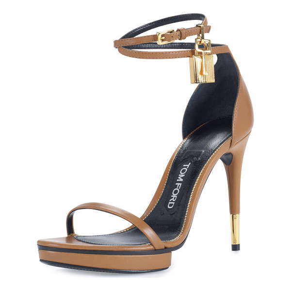 "TOM FORD Platform Ankle-Lock 105mm Sandal - TOM FORD calfskin sandal. 4.1"" covered heel with metal tip."