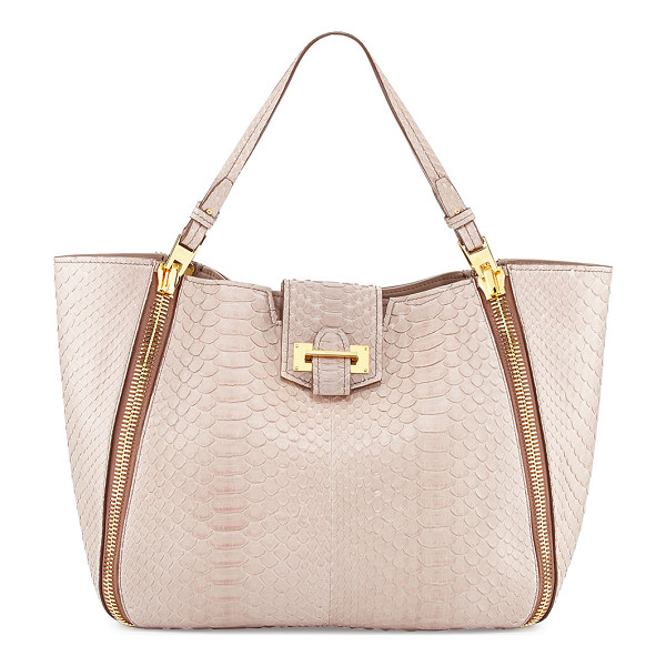 TOM FORD Sedgwick medium python zip tote bag - Nude python with signature Tom Ford yellow golden hardware....