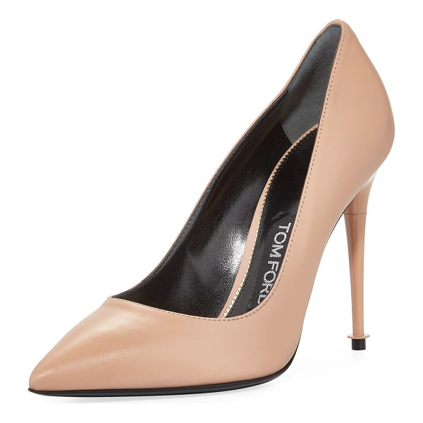 "TOM FORD Soft Leather Point-Toe 105mm Pump - TOM FORD soft calf leather pump. 4.1"" lacquered heel...."