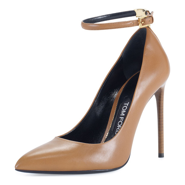 "TOM FORD T-Bar Leather 105mm Pump - TOM FORD shiny calf leather pump. 4.1"" covered heel."