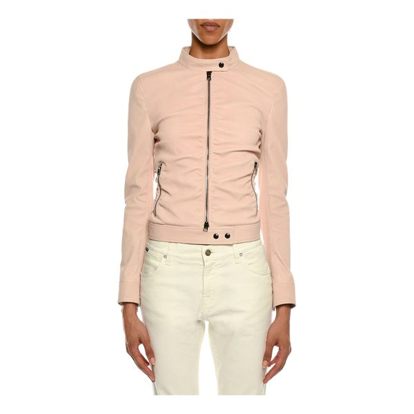 TOM FORD Zip-Front Ruched Napa Leather Biker Jacket - Tom Ford ruched biker jacket in napa lamb leather. Stand...