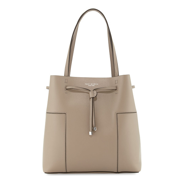 TORY BURCH Block-T Leather Bucket Tote Bag - Tory Burch leather bucket tote bag with golden hardware.