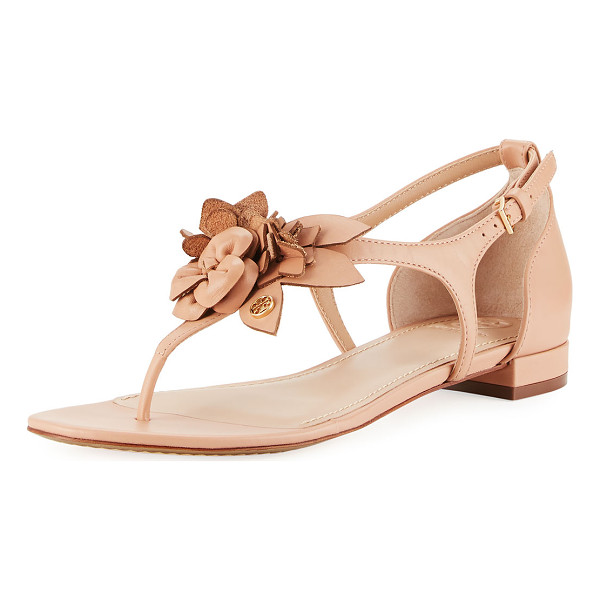 "TORY BURCH Blossom Flat Floral Sandal - Tory Burch leather sandal with floral appliqus. 0.8""..."