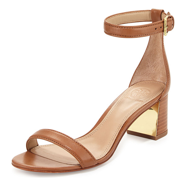 "TORY BURCH Cecile 55mm Leather City Sandal - Tory Burch leather city sandal. 2"" stacked heel with metal..."