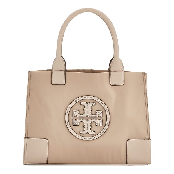 TORY BURCH Ella Studded Mini Nylon Tote - Tory Burch nylon tote bag with leather trim. Rolled tote...