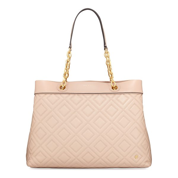 TORY BURCH Fleming Quilted Leather Tote Bag - Tory Burch tote bag in quilted leather with golden...