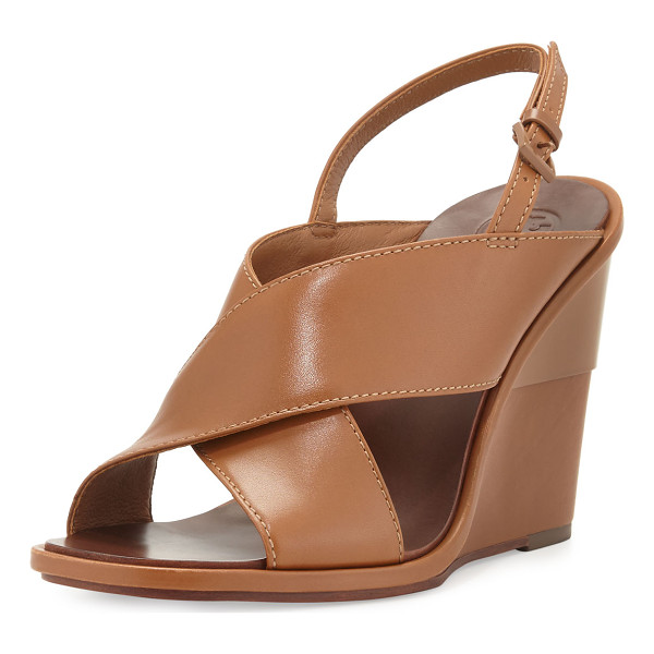 "TORY BURCH Gabrielle leather wedge sandal - Tory Burch napa leather sandal. 4"" covered wedge heel with..."