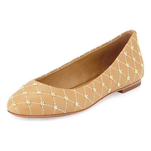 TORY BURCH Logo-stud quilted ballerina flat - Tory Burch quilted leather ballerina flat. Golden double-T...