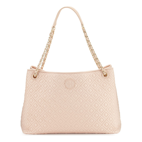 TORY BURCH Marion Chain-Strap Shoulder Slouch Bag - Tory Burch quilted lambskin leather shoulder bag. Woven...
