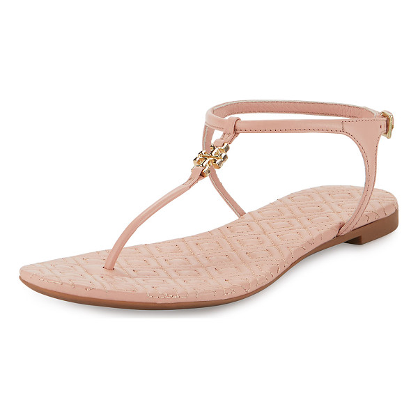 "TORY BURCH Marion quilted t-strap sandal - Tory Burch leather sandal. 0. 3"" flat heel. T-strap vamp..."