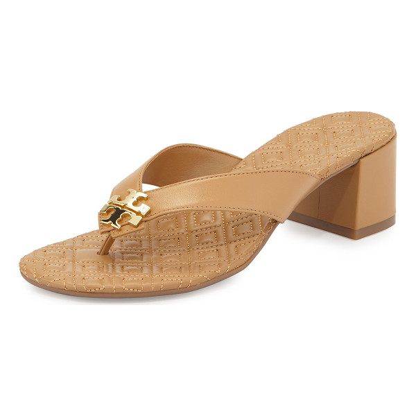 "TORY BURCH Maybell block-heel thong sandal - Tory Burch leather thong sandal. 2"" covered block heel...."