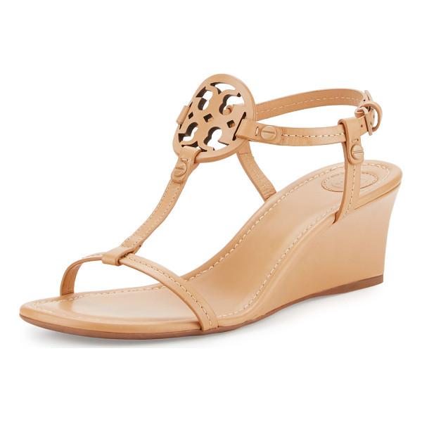 "TORY BURCH Miller Logo 60mm Wedge Sandal - Tory Burch napa leather sandal. 2.4"" covered wedge heel...."