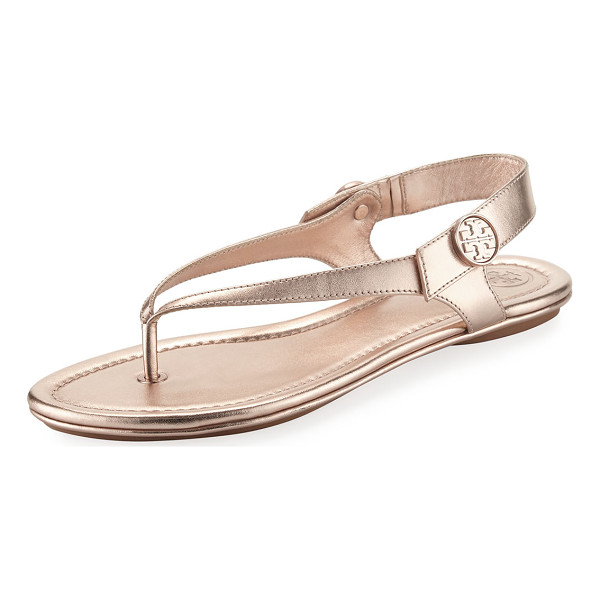 TORY BURCH Minnie Metallic Flat Travel Sandal - Tory Burch metallic leather sandal. Flat heel. Thong strap....