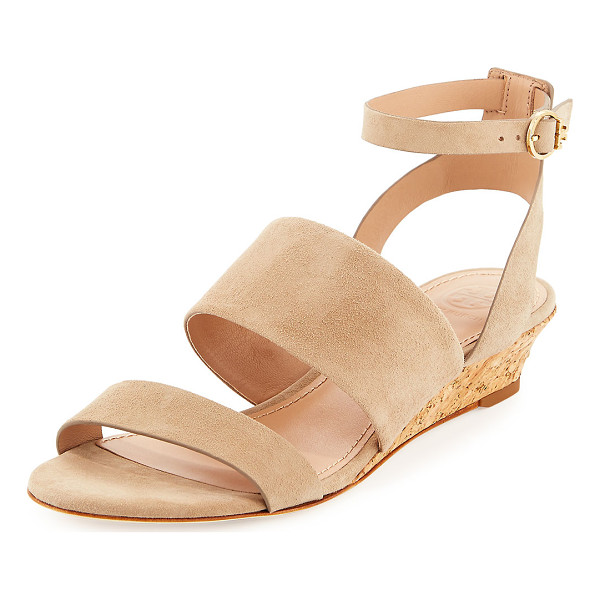 """TORY BURCH North Suede Low-Wedge Sandal - Tory Burch suede sandal in simple banded design. 1.5"""""""