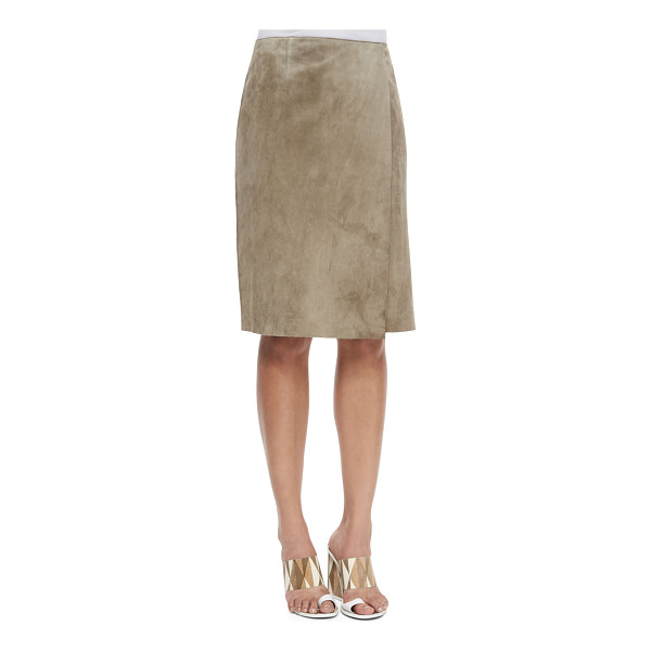 TORY BURCH Portabello faux-wrap suede skirt - Tory Burch suede skirt. Sits at natural waist. Faux-wrap...
