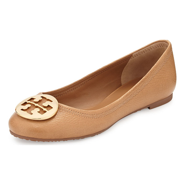 TORY BURCH Reva leather ballerina flat - Tory Burch tumbled leather ballerina flat. Golden double-T...