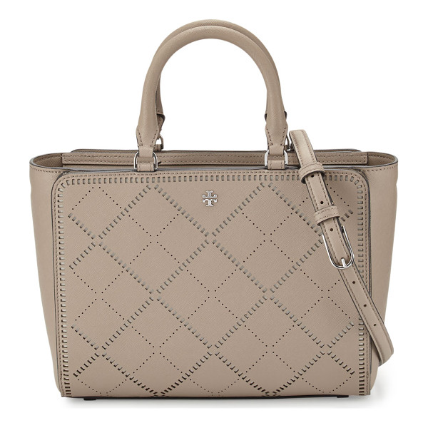 TORY BURCH Robinson small crosshatch tote bag - Tory Burch crosshatch saffiano leather tote bag. Silvertone...