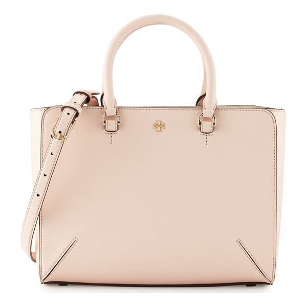 TORY BURCH Robinson small zip tote bag - Tory Burch saffiano leather tote bag. Rolled top handles,...