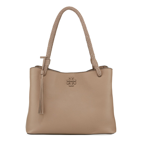 TORY BURCH Taylor Triple-Compartment Tote Bag - Tory Burch pebbled leather tote bag with golden hardware....