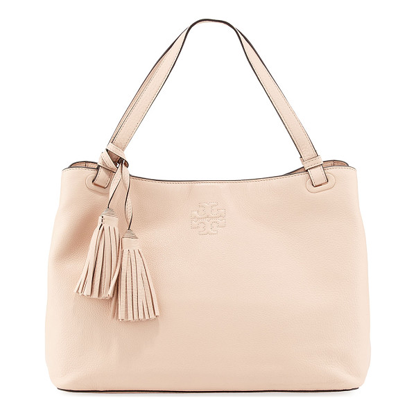 TORY BURCH Thea center-zip tote bag - Tory Burch grained leather tote bag. Flat top handle with...