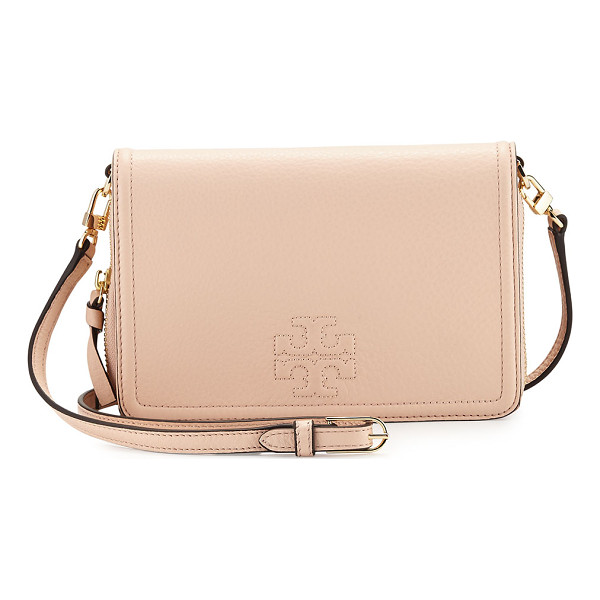 TORY BURCH Thea leather wallet crossbody bag - Tory Burch pebbled leather wallet crossbody bag. Golden...