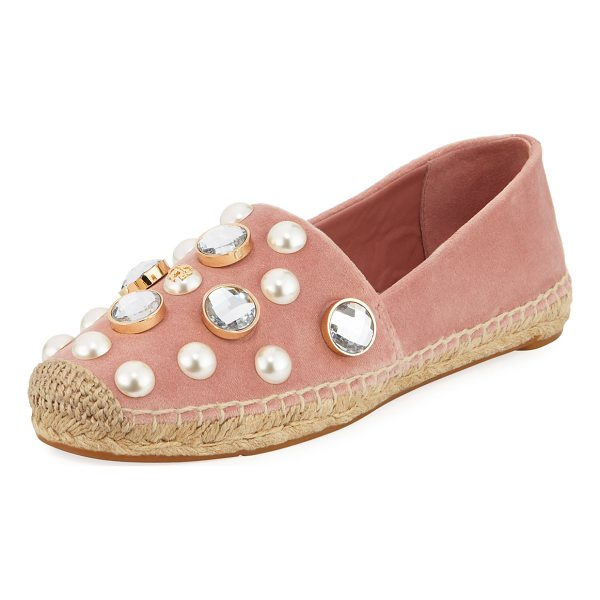TORY BURCH Vail Embellished Velvet Espadrille - Tory Burch velvet espadrille with pearlescent and crystal...