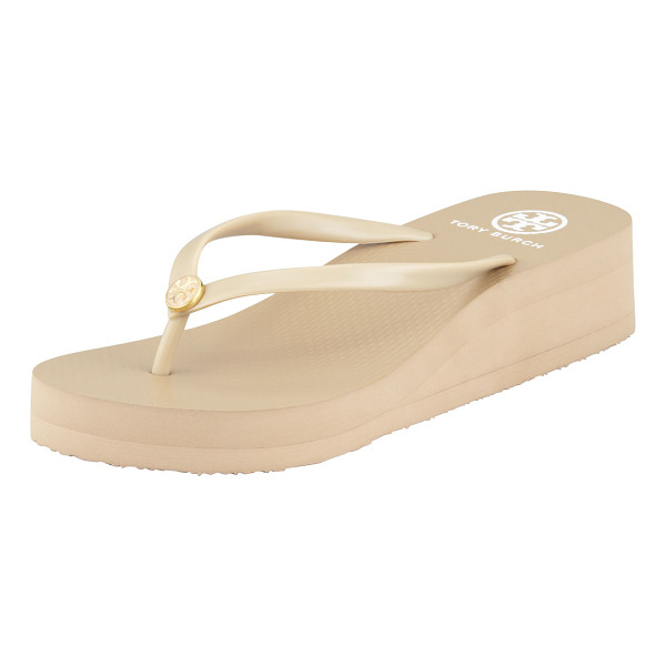 TORY BURCH Rubber Wedge Flip-Flop - Classic, water-ready rubber flip-flop with signature double...