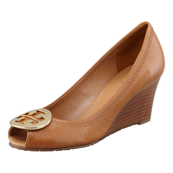 TORY BURCH Sally 2 Leather Wedge Pump - Well-appointed tumbled leather with zigzag stitching around...