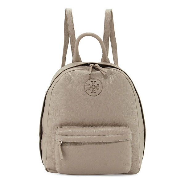 TORY BURCH Zip-Around Leather Backpack - Tory Burch pebbled leather backpack. Silvertone hardware....