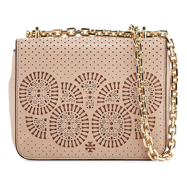 TORY BURCH Zoey Mini Laser-Cut Shoulder Bag - Tory Burch perforated leather shoulder bag with laser-cut...